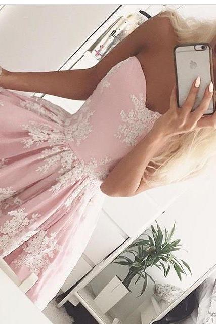 Blush Pink Homecoming Dresses Short Lace Prom Gowns