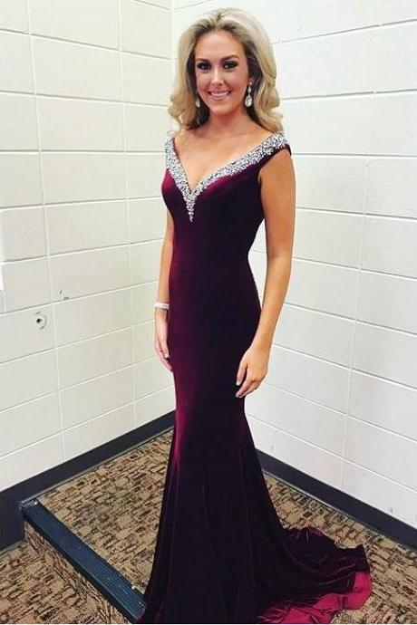 Elegant Velvet Beading V neck Mermaid Evening Prom Dresses