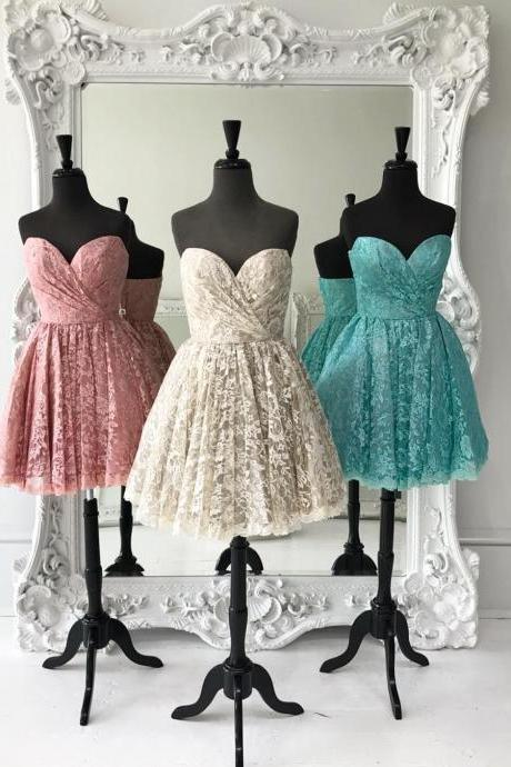 A Line Sweetheart Short Homecoming Dresses Lace Embroidery