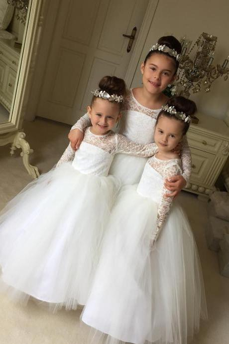 Sheer Lace Long Sleeves Flower Girl Dresses White Tulle Kids Ball Gowns