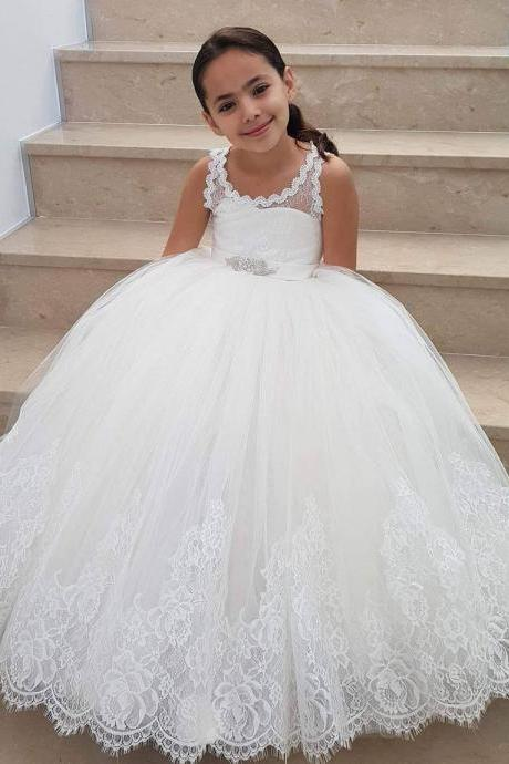 Sleeveless Ball Gown Flower Girl Dresses Floor Length