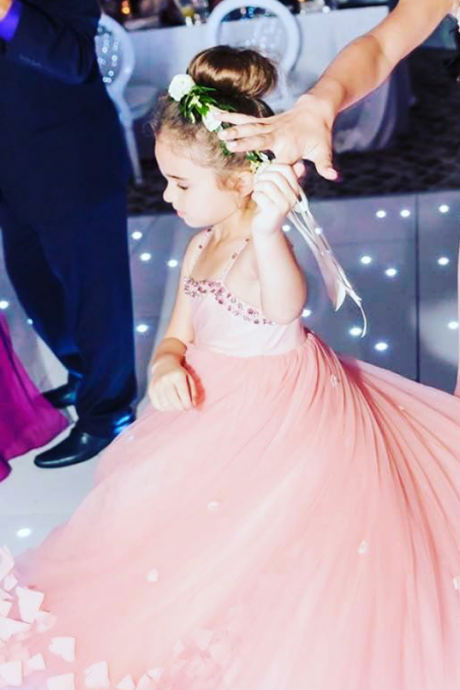 Puffy Tulle 3D Flowers Flower Girls Dresses Kids Princess Pageant Dress