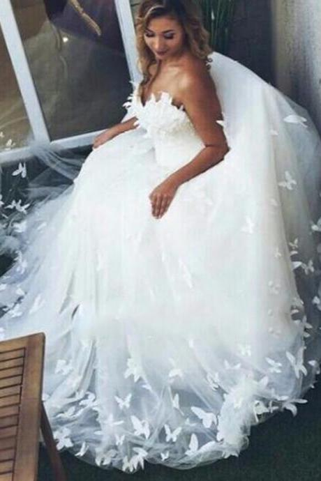 Romantic Sweetheart Butterfly Bridal Ball Gown Wedding Dresses