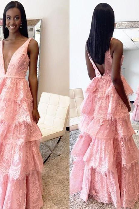 Sexy Backless Low V neck Prom Dresses Tired Pink Lace Ruffled Skirt