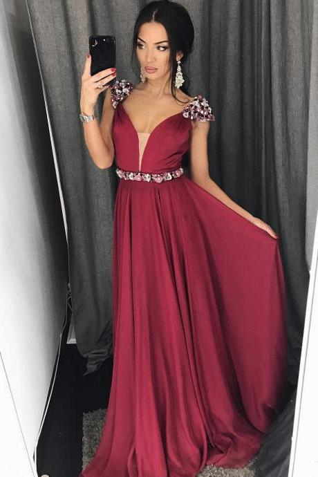 Burgundy Chiffon Illusion V neck Long Prom Dress with Beaded Flowers in Shoulder and Waist