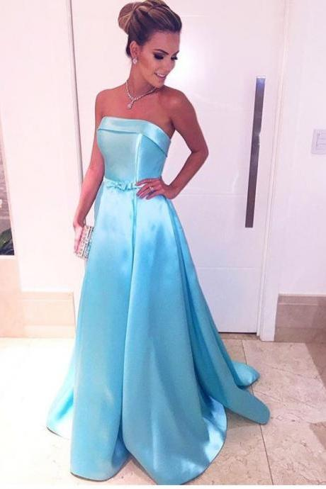 Blue Satin Strapless Long Evening Dresses with Front Bow in the Waist