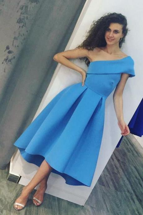 Ice Blue Satin One Shoulder High Low Midi Homecoming Prom Dresses