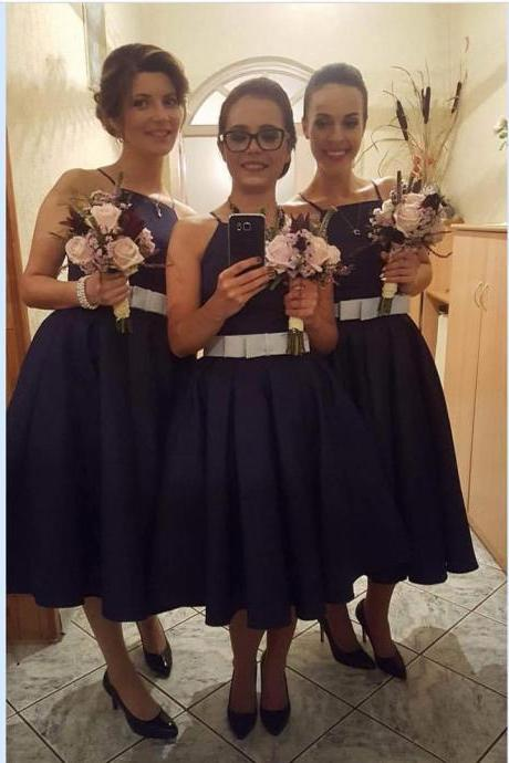 Dark Navy Blue Satin Short Bridesmaid Dresses with Front Bow