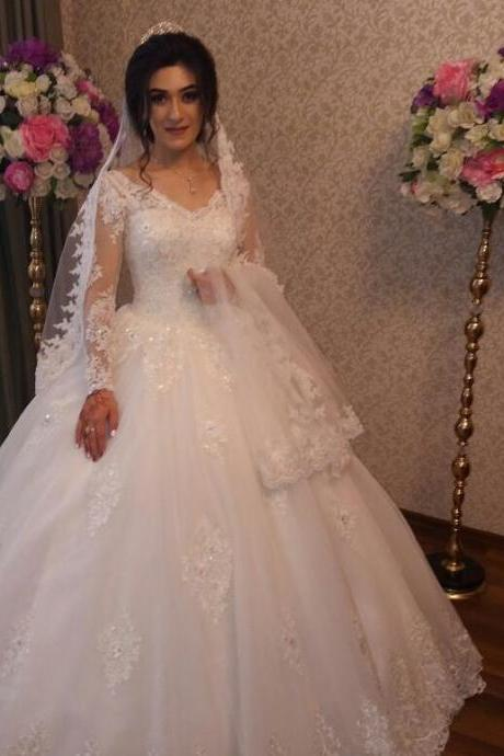 Chic Long Sleeves Ball Gown Wedding Dresses with Sparkly Lace Appliques