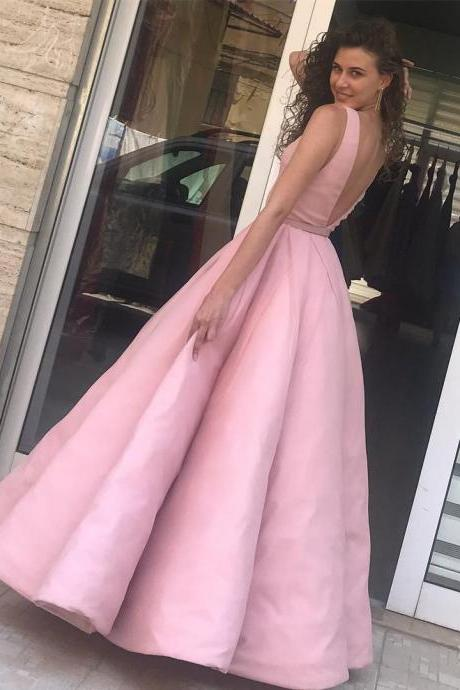Opening Back Pink Satin Ball Gown Prom Dresses Evening Gowns