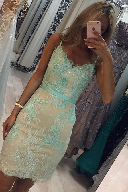 Backless Sheath Lace Cocktail Dresses Mint Green Short Prom Gowns