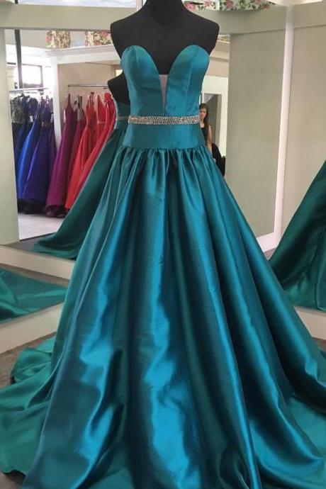 Strapless Plunging Neckline Satin Evening Dress Long Formal Gowns Beaded Waist