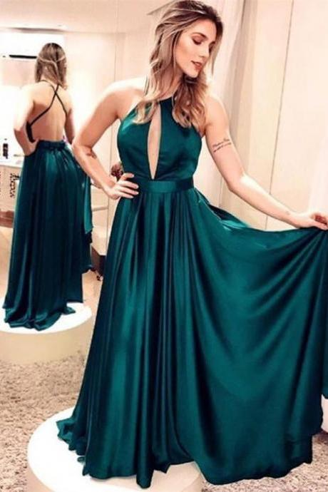 Emerald Green Satin Long Evening Dresses Simple Backless Maxi Gowns