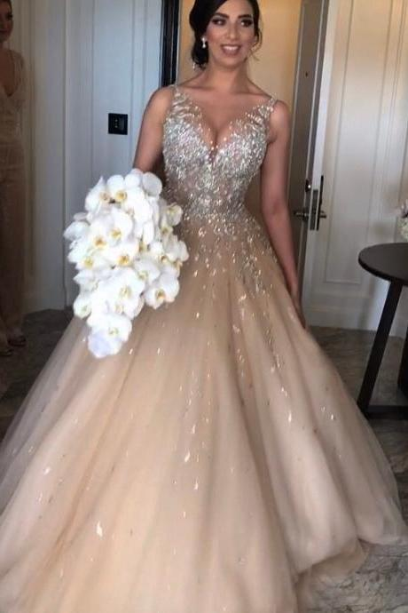 Sleeveless Sparkly Champagne Wedding Dress Puffy Tulle Bridal Ball Gowns