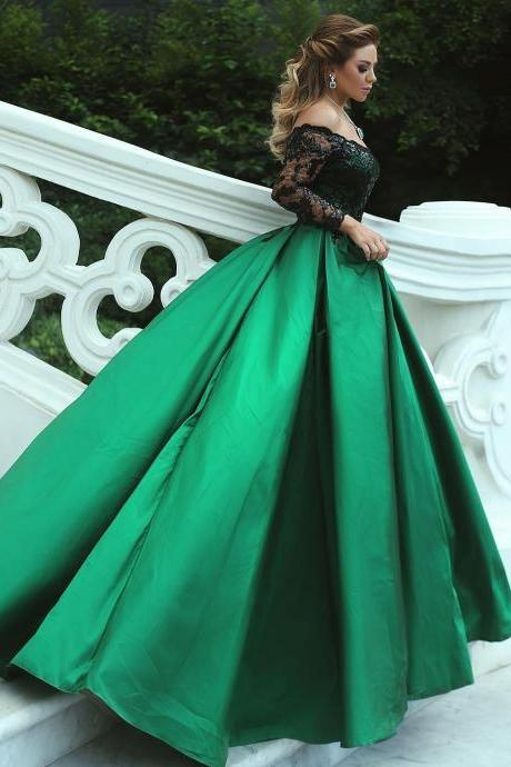 Off the Shoulder Green Satin Prom Ball Gowns with Black Lace Long Sleeves