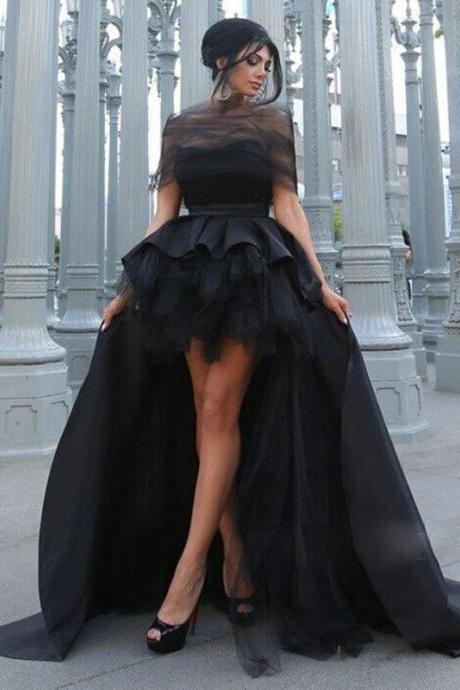 Black Satin Off Shoulder High Low Prom Dresses Long
