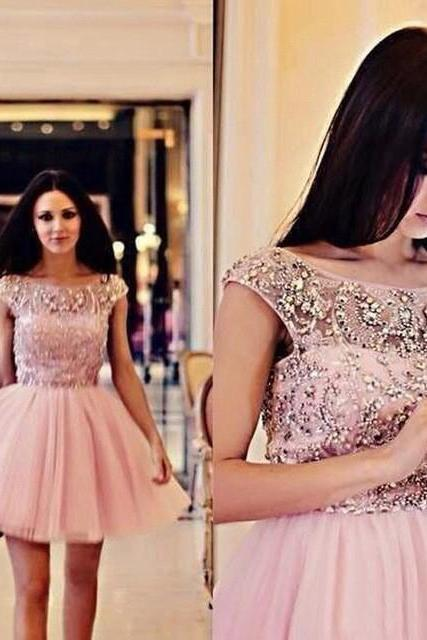 Classic Beaded Bodice Pink Tulle Homecoming Dress Short Prom Ball Gowns