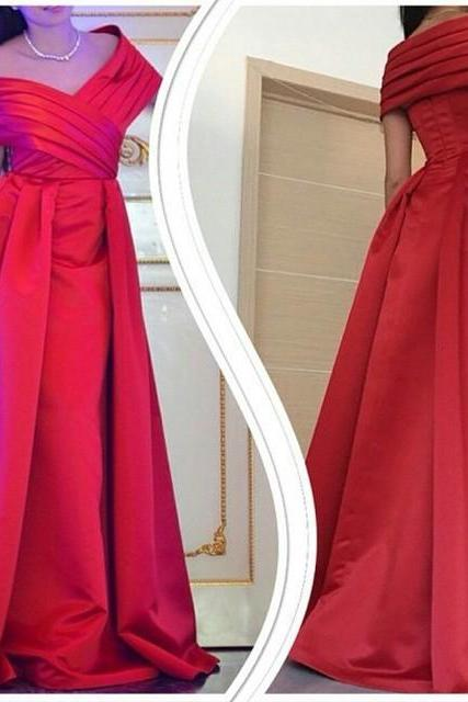 Arabic Ruched Off the Shoulder Long Prom Dresses Evening Ball Gowns in Red Satin
