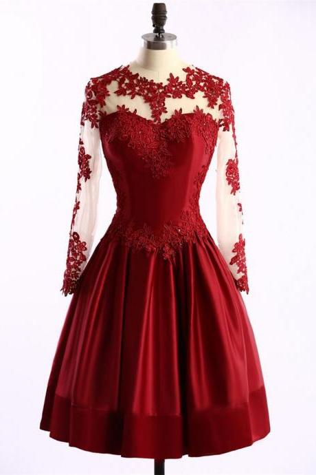 Red Satin Lace Appliques Long Sleeves Homecoming Dress Arabic Short Party Gowns
