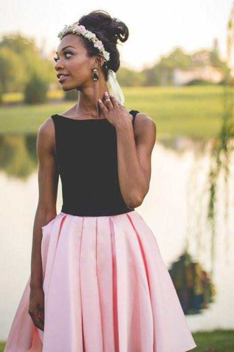 Black and Pink Satin High Low Short Homecoming Dress Simple Prom Gowns