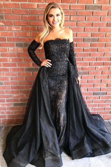 Strapless Sheath Black Lace Long Prom Dresses with Over Skirt & Separate Sleeves
