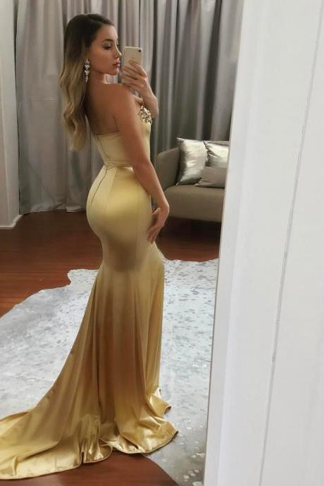 Long Gold Satin Beaded Sweetheart Mermaid Evening Dresses Prom Gowns