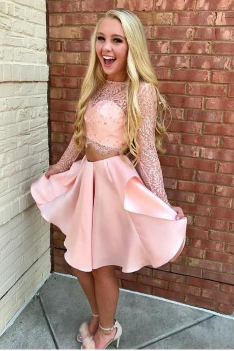 Pink Lace Satin Short Two Piece Homecoming Dresses Long Sleeves