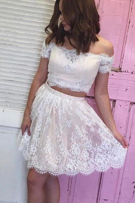 Off the Shoulder Beaded Lace Two Piece Homecoming Dresses Short Prom Gowns