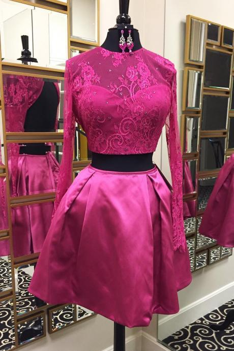 Backless Two Piece Homecoming Dress Beaded Fuchsia Lace Long Sleeves Satin Party Gowns