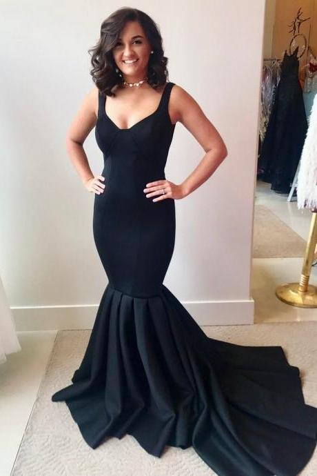 Elegant Black Satin Mermaid Evening Dress Long Concise Formal Gowns