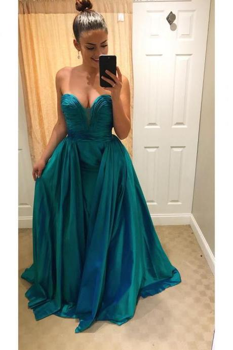 Ruched Satin Sweetheart Backless Prom Evening Gowns Floor Length