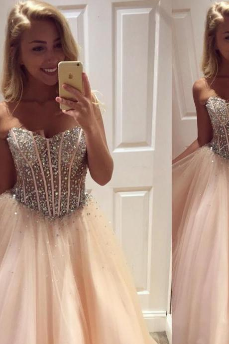 Crystals Beaded Sheer Tulle Bodice Sweetheart Ball Gown Prom Dresses