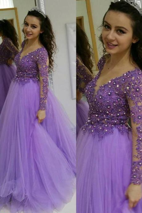Lavender Tulle Lace Bodice Corset Prom Dresses Ball Gowns with Long Sleeves