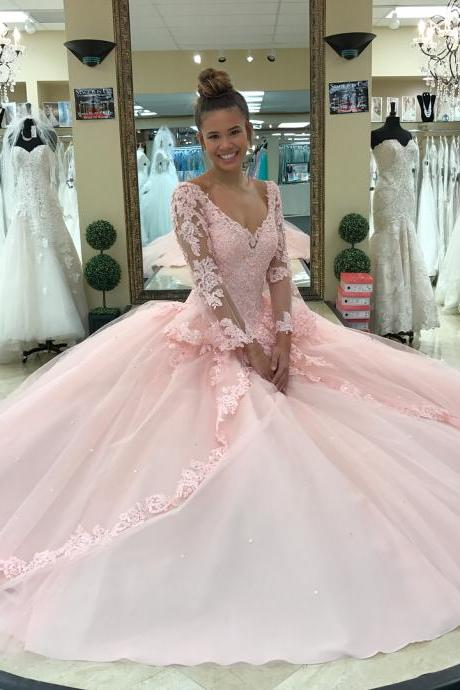Pink Tulle Lace Corset V neck Quinceanera Dresses Sweet 16 Long Sleeves Ball Gowns