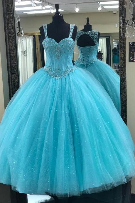 Bling Tulle Beaded Sweetheart Bodice Corset Quinceanera Dresses with Straps