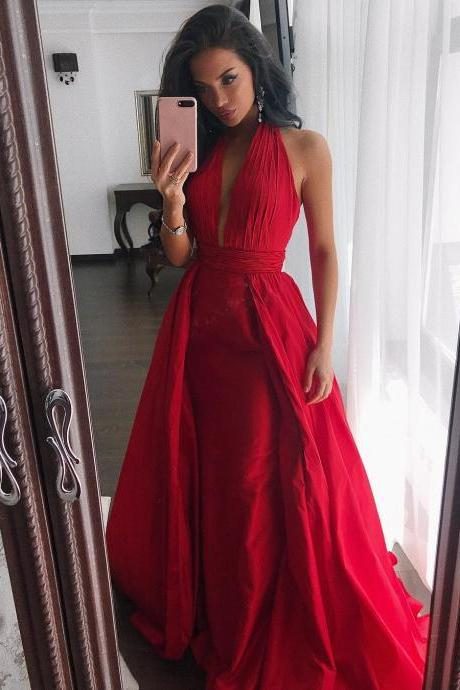 Hot Ruched Halter Red Satin Evening Dresses Long Prom Gowns