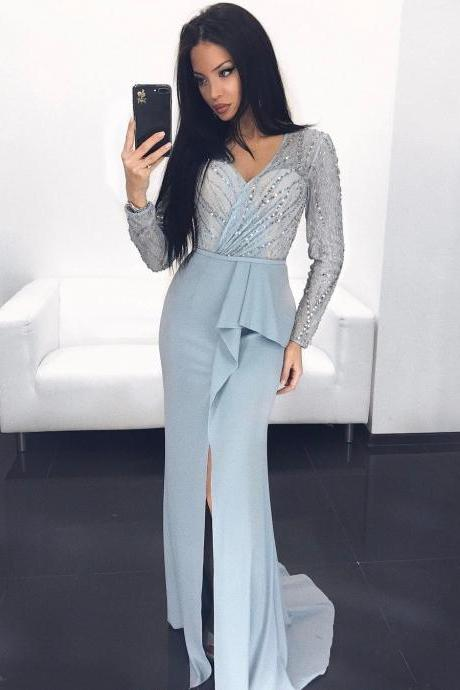 Beading Lace Long Sleeves Pleated Satin Sheath Evening Dress Prom Gowns with Slit