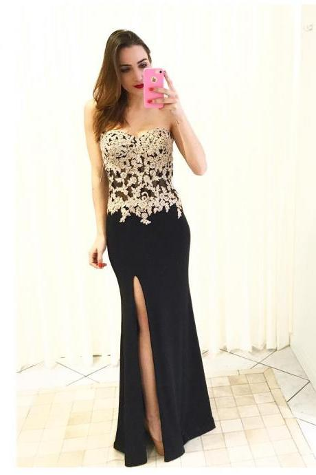Long Sweetheart Lace Bodice Sheath Prom Dresses Evening Gowns with Side Slit