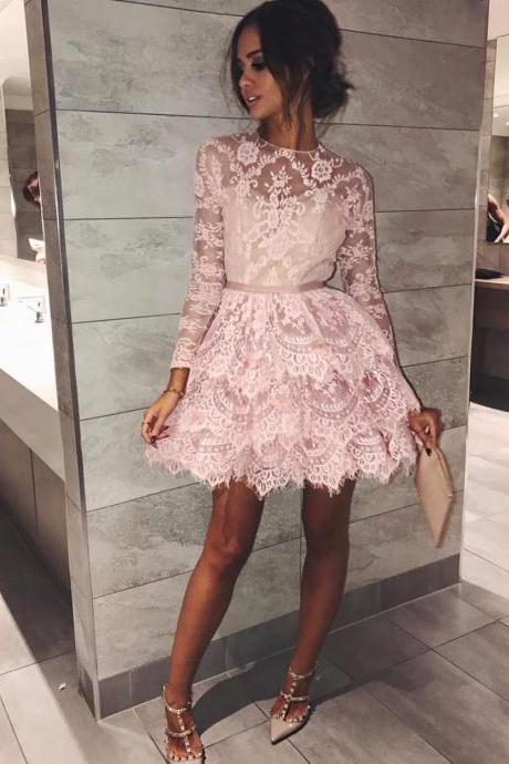 Pink Lace Long Sleeves Short Party Gowns Tired Skirt Prom Dresses