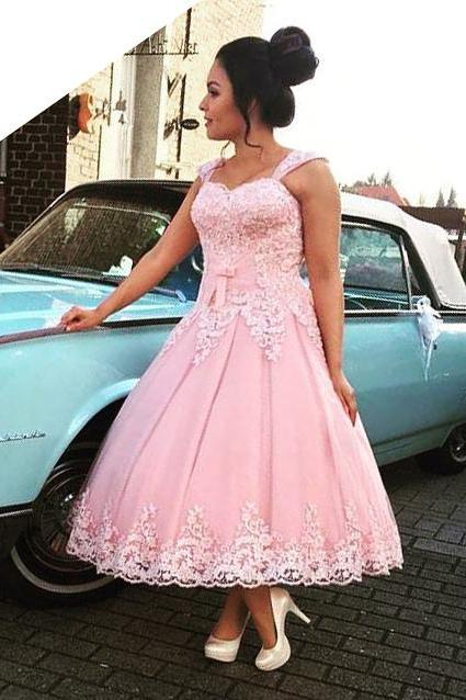 Lovely Ankle Length Pink Ball Gown Prom Party Dresses with Lace Appliques & Straps