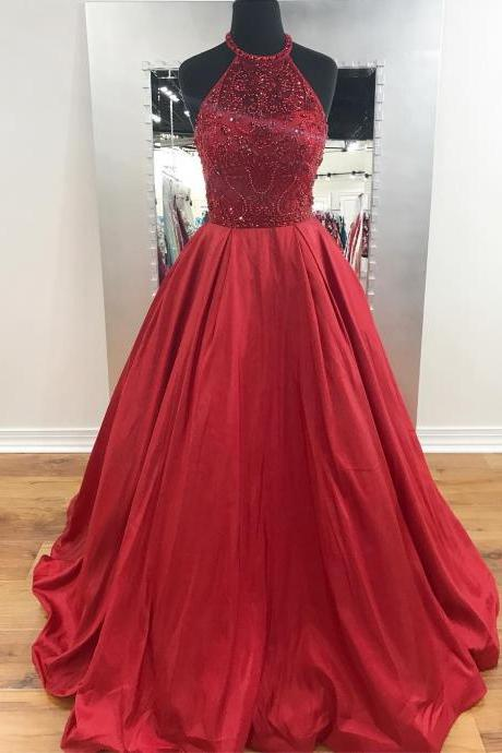 Beading Bodice Red Satin Long Prom Dress Halter Formal Gowns