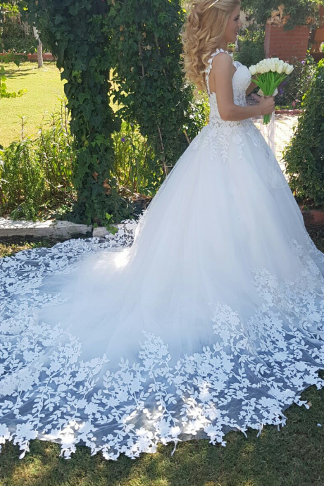 Romantic Lace Straps Sweetheart Tulle Wedding Dress Illusion Bodice