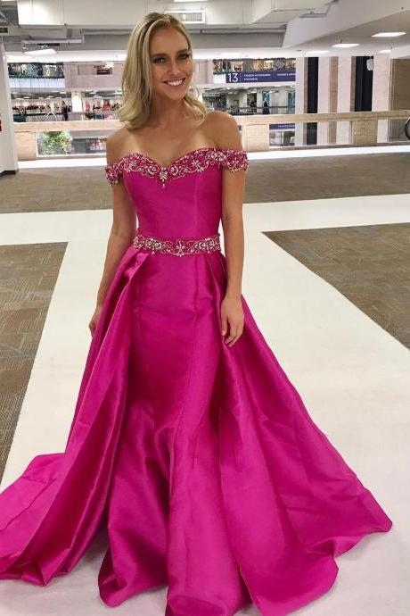 Fuchsia Satin Beaded Off Shoulder Long Prom Dresses with Over Skirt