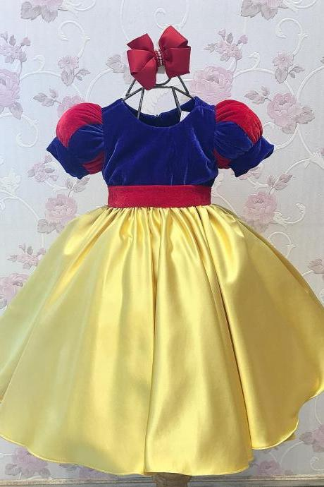 Cute Snow White Kids Pageant Gowns Flower Girl Dresses