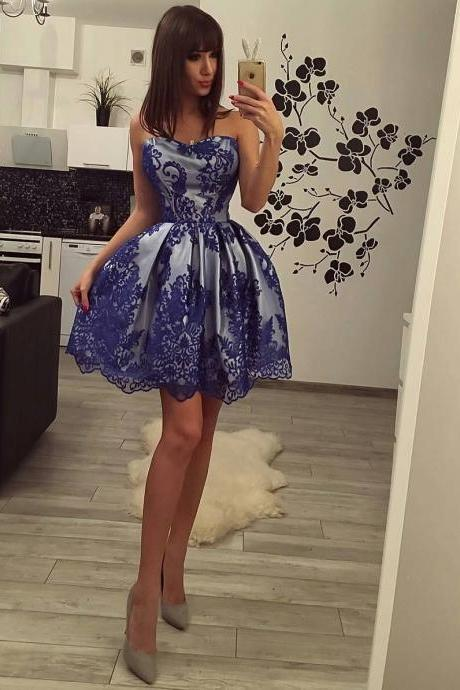 Sweetheart Short Ball Gown Cocktail Party Dress with Royal Blue Overlay Lace
