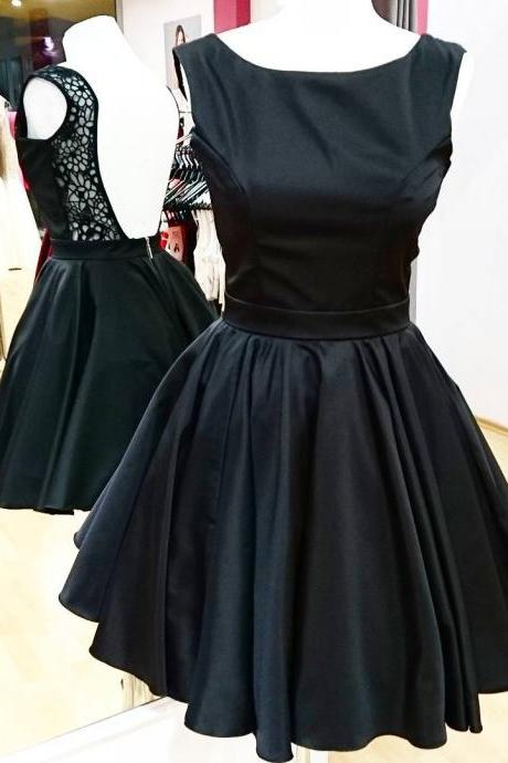 Backless Little Black Dress Short Satin Homecoming Party Gowns