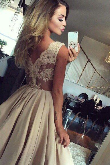 Sheer Lace Backless Short Satin Homecoming Party Gowns Simple