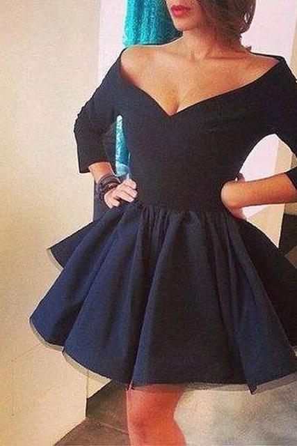 Dark Navy Off the Shoulder V Neck Semi Formal Party Gowns with 3/4 Sleeves