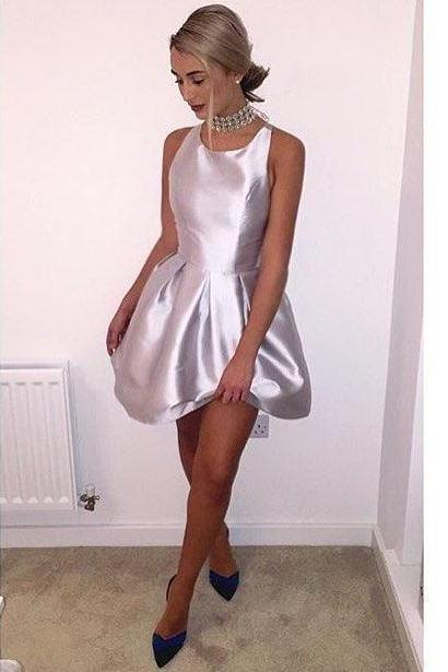 Pleated Satin Short Evening Dress, Homecoming Dresses