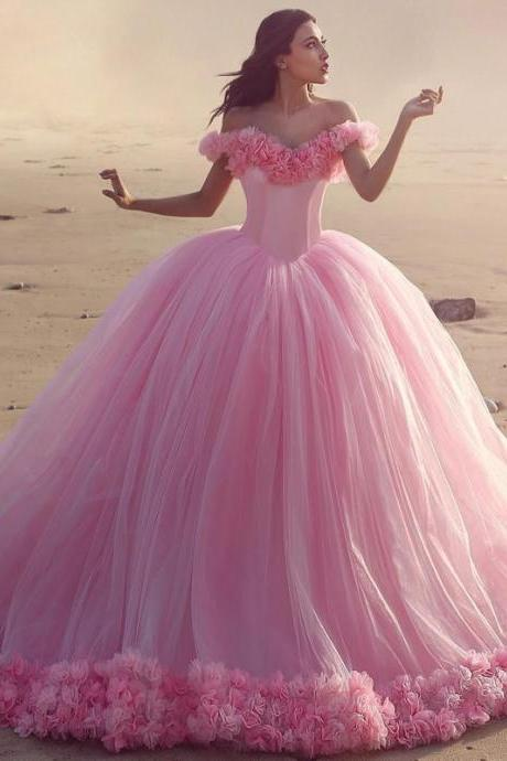 Off The Shoulder Tulle Flower Quinceanera Dresses Ball Gowns